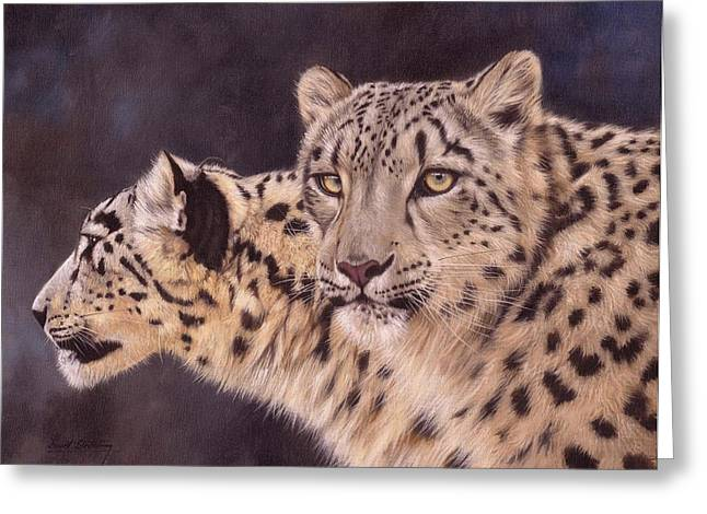 Leopard Cat Greeting Cards - Pair of Snow Leopards Greeting Card by David Stribbling