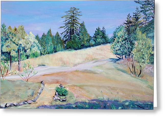 Old Fence Posts Paintings Greeting Cards - Pair of Thousand Year Old Redwood Trees Greeting Card by Asha Carolyn Young
