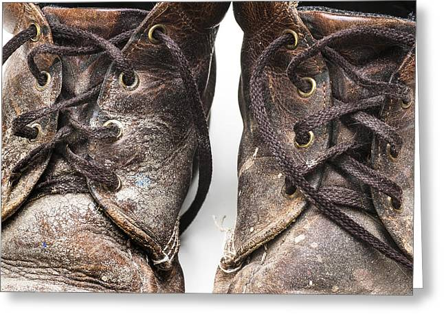 Pair Of Well Used Dirty Work Boots Greeting Card by Donald  Erickson