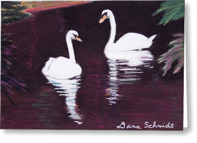 Pair Pastels Greeting Cards - Pair of White Swans Swimming Greeting Card by Dana Schmidt