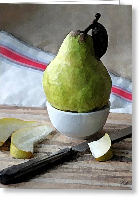 Pear Art Drawings Greeting Cards - Pair Slices Greeting Card by Cole Black