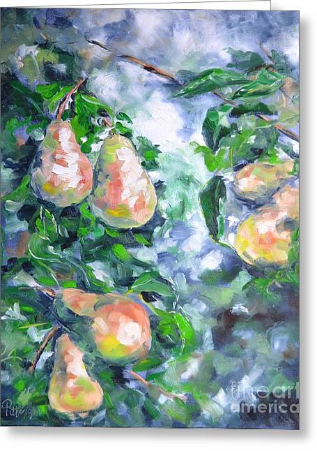 Kittitas Valley Greeting Cards - Paired Pears Greeting Card by Lori Pittenger