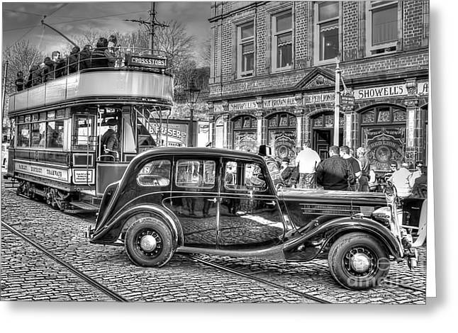 Police District Greeting Cards - Paisley District Tram - Black and White Greeting Card by Steve H Clark Photography