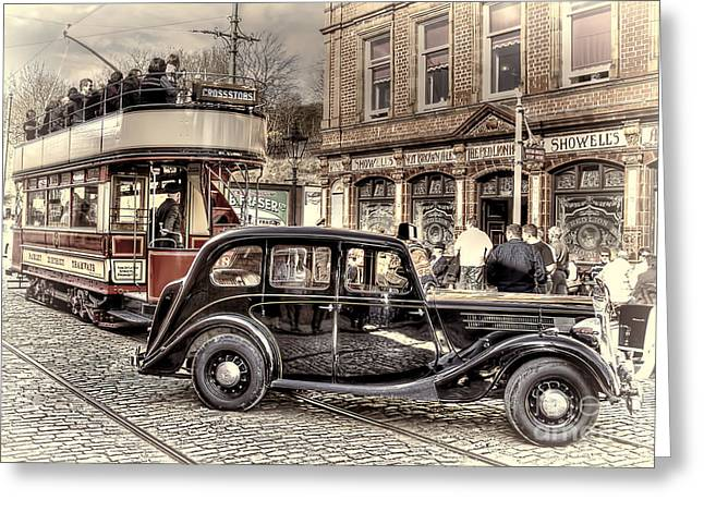 Police District Greeting Cards - Paisley District Tram - Hand Tinted Effect Greeting Card by Steve H Clark Photography