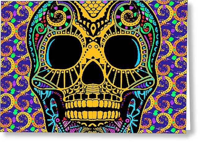 Face Tattoo Mixed Media Greeting Cards - Paisley Skull Greeting Card by Tony Rubino