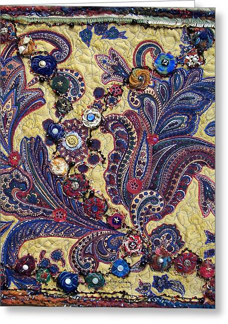 Abstract Quilt Tapestries - Textiles Greeting Cards - Paisley Greeting Card by Sue Gilliam