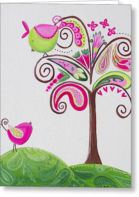 My Baby Greeting Cards - Paisley Tree Greeting Card by Tracie Davis