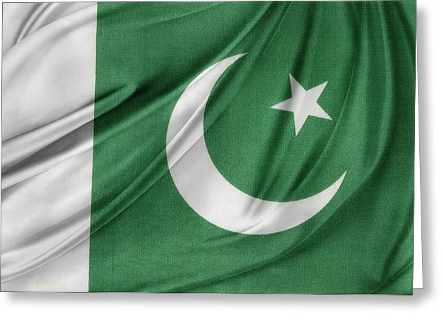 Waving Flag Greeting Cards - Pakistan flag  Greeting Card by Les Cunliffe