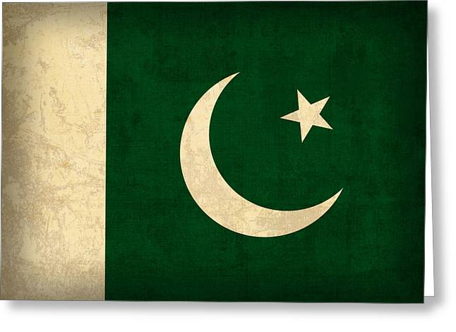 Pakistan Greeting Cards - Pakistan Flag Vintage Distressed Finish Greeting Card by Design Turnpike