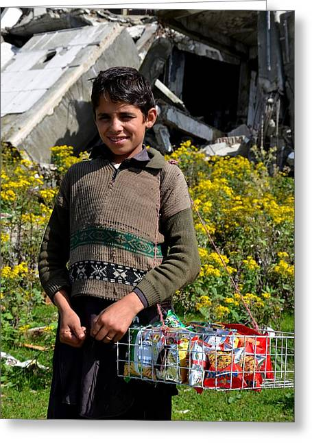 Taliban Greeting Cards - Pakistani boy in front of hotel ruins in Swat Valley Greeting Card by Imran Ahmed
