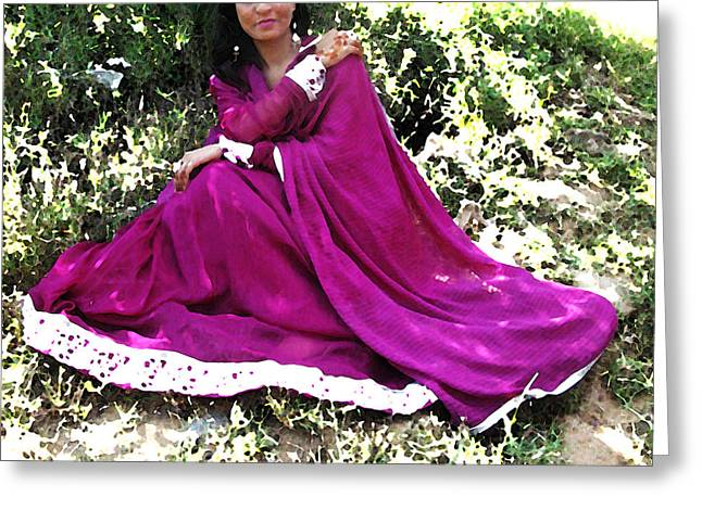 Magenta Dress Greeting Cards - Pakistani Woman in Flowing Dress Greeting Card by Lenore Senior and Bobby Dar