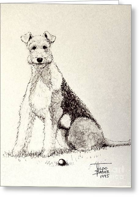 Pen And Ink Framed Prints Greeting Cards - Pal the Airedale Greeting Card by Art By - Ti   Tolpo Bader