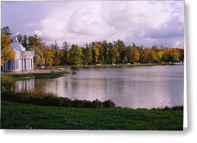 Commonwealth Of Independent States Greeting Cards - Palace At The Lakeside, Catherine Greeting Card by Panoramic Images