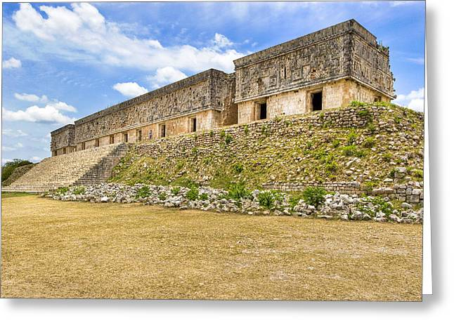 Ancient Ruins Greeting Cards - Palace at the Mayan Ruins of Uxmal Greeting Card by Mark Tisdale