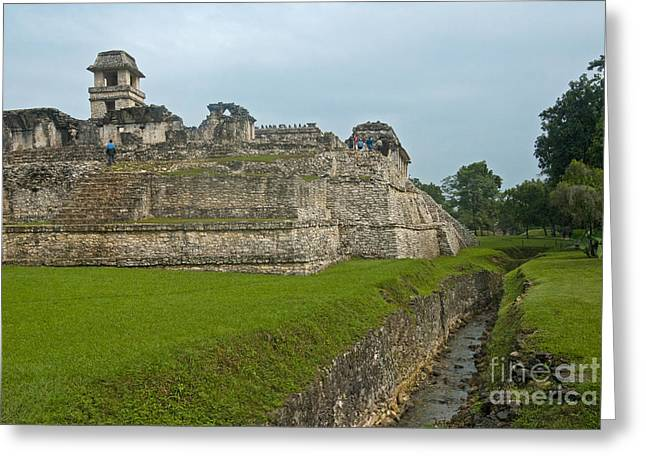 Ancient Ruins Greeting Cards - Palace At The Ruins Of Palenque, Mexico Greeting Card by Ellen Thane