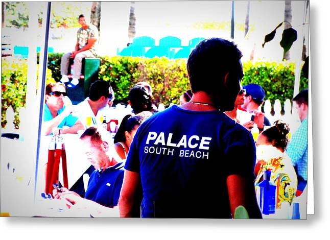 York Beach Greeting Cards - Palace Bar Funk in South Beach Miami  Greeting Card by Funkpix Photo Hunter