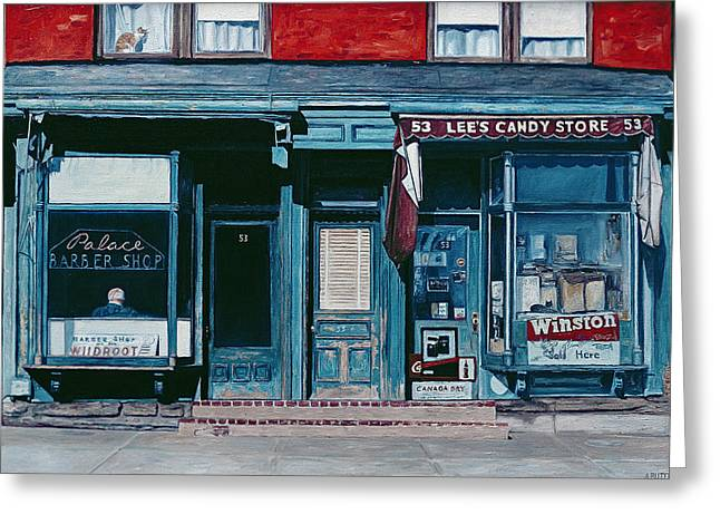 Facades Greeting Cards - Palace Barber Shop and Lees Candy Store Greeting Card by Anthony Butera