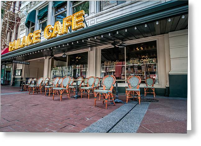 Cajun Cafe Greeting Cards - Palace Cafe in New Orleans Greeting Card by Andy Crawford