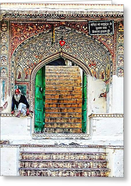 Stepping Stones Greeting Cards - Palace Caretaker Sisodia Jaipur Rajasthan India Greeting Card by Sue Jacobi