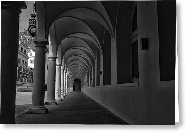 Dresden Greeting Cards - Palace Colonnade in Dresden Greeting Card by Mountain Dreams