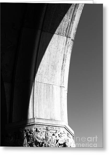 Venetian Balcony Greeting Cards - Palace Column Shadows Greeting Card by John Rizzuto