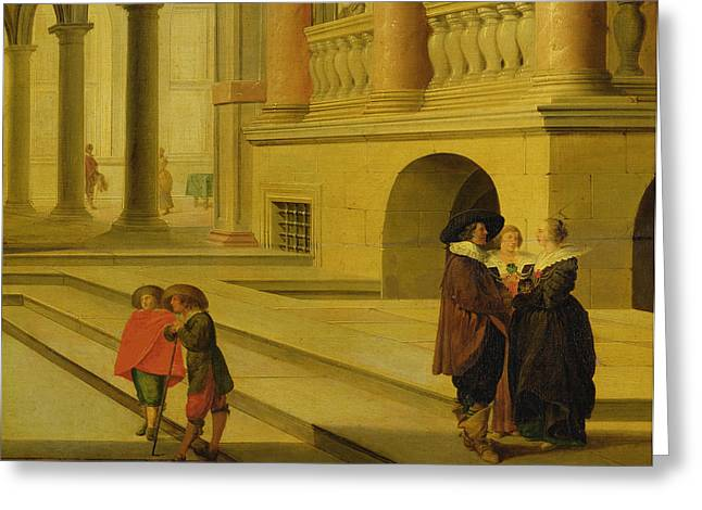 Neo Greeting Cards - Palace Courtyard Greeting Card by Dirck van Delen