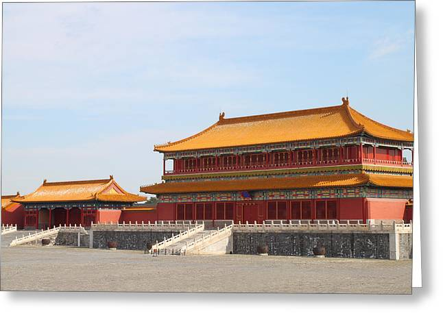 Red Buildings Pyrography Greeting Cards - Palace Forbidden city in Beijing Greeting Card by Thanapol Kuptanisakorn