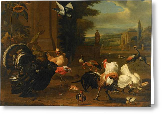 Old Masters Greeting Cards - Palace Garden Exotic Birds and Farmyard Fowl Greeting Card by Melchior de Hondecoeter