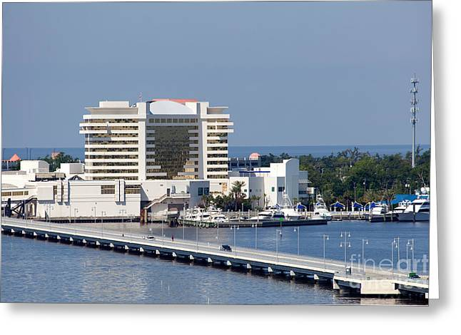 Wahoo Greeting Cards - Palace Hotel and Casino from over the Back Bay Biloxi Mississippi Greeting Card by Bill Cobb