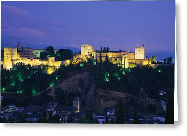 Alhambra Greeting Cards - Palace Lit Up At Dusk, Alhambra Greeting Card by Panoramic Images
