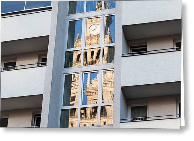 Palace of Culture and Science Abstract Reflection Greeting Card by Artur Bogacki