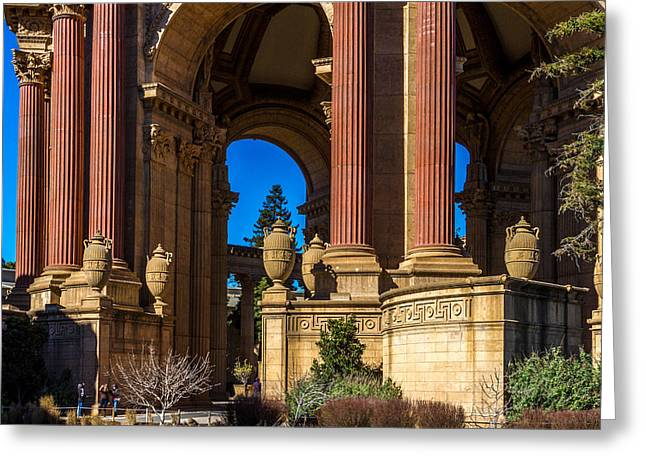 Bill Gallagher Greeting Cards - Palace Of Fine Arts/Columns And Curves Greeting Card by Bill Gallagher