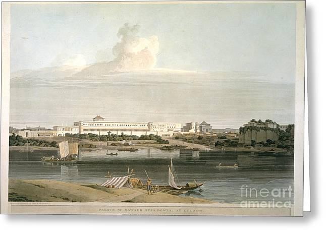 Aquatint Greeting Cards - Palace Of Nawaub Suja Dowla Greeting Card by British Library
