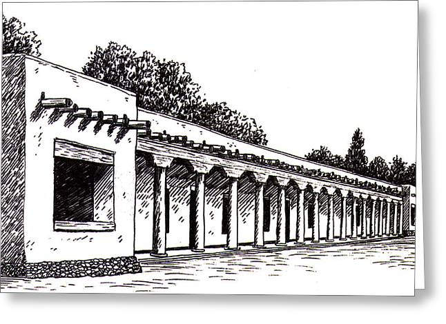 Adobe Drawings Greeting Cards - Palace of the Governors  Greeting Card by Del Gaizo