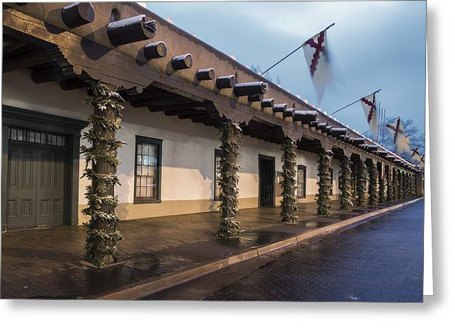 Flying Flag Greeting Cards - Palace of the Governors Santa Fe Greeting Card by Dave Dilli