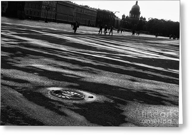 Brick Front Walk Greeting Cards - Palace Square in Saint Petersburg 2  Greeting Card by Design Remix