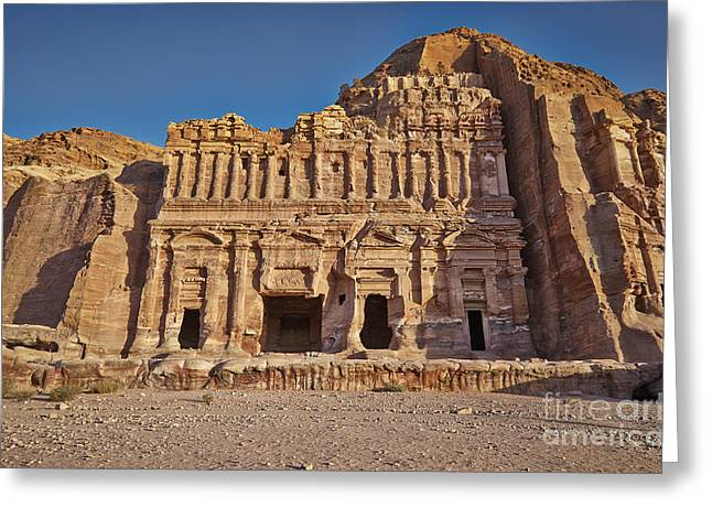 Kultur Greeting Cards - Palace Tombin Nabataean ancient town Petra Greeting Card by Juergen Ritterbach