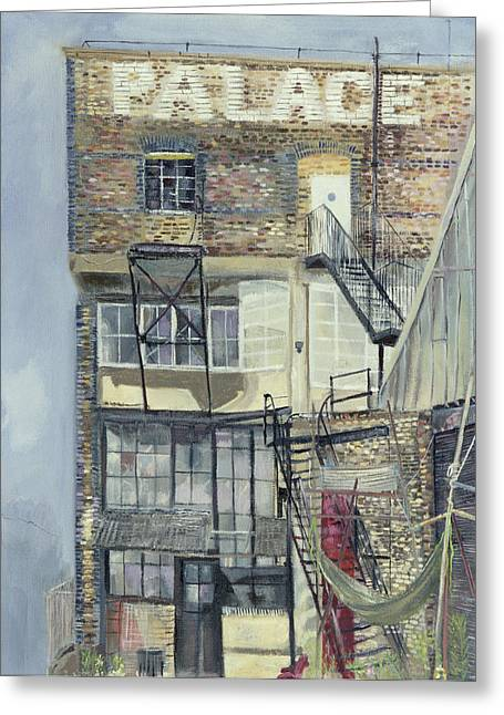 Run Down Greeting Cards - Palace Wharf, Rainville Road Oil Pastel On Paper Greeting Card by Sophia Elliot
