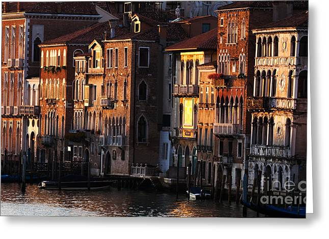 Historical Images Greeting Cards - Palaces on the Grand Canal - Venice Greeting Card by Matteo Colombo