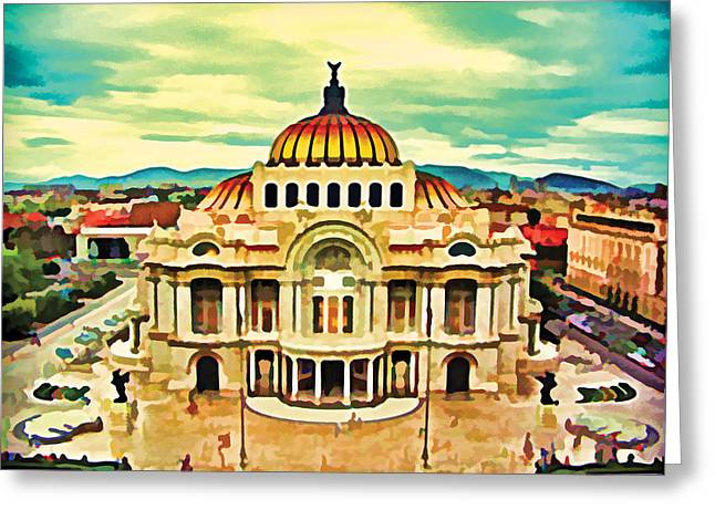 Mexico City Digital Greeting Cards - Palacio de Bellas Artes Mexico Greeting Card by Flo Karp