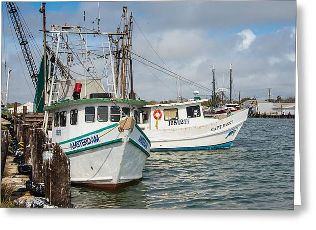 Shrimp Boat Captains Greeting Cards - Palacios Texas Two Boats In View Greeting Card by JG Thompson