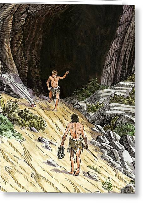 Palaeolithic Greeting Cards - Palaeolithic Cave Dwellers, Artwork Greeting Card by Luis Montanya/marta Montanya/sciencephotolibrary