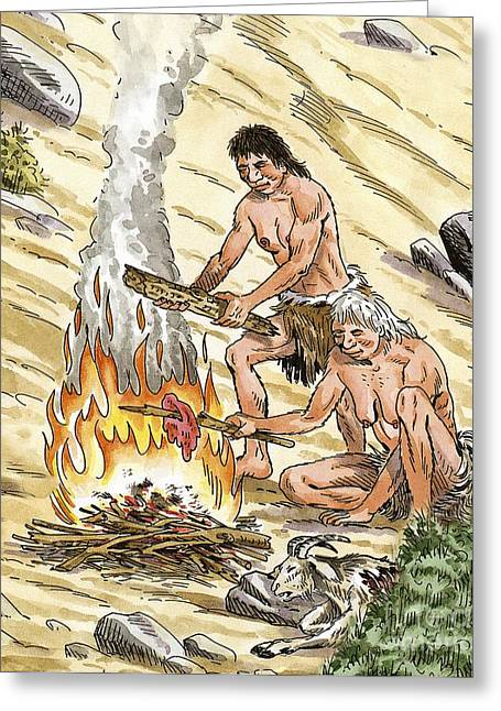 Palaeolithic Greeting Cards - Palaeolithic Cooking Fire, Artwork Greeting Card by Luis Montanya/marta Montanya/sciencephotolibrary
