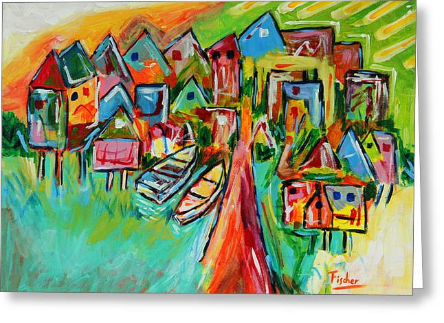 Fischer Boat Greeting Cards - Palafites in Greater Island of Chiloe Greeting Card by Rafael Fischer