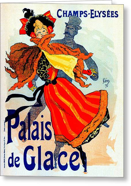 Ice-skating Mixed Media Greeting Cards - Palais de Glace Greeting Card by Jules Cheret
