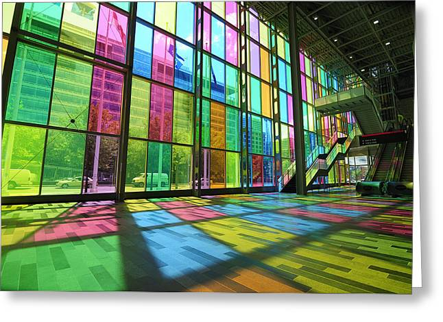 Glass Wall Greeting Cards - Palais des Congres Montreal Greeting Card by Norman Pogson