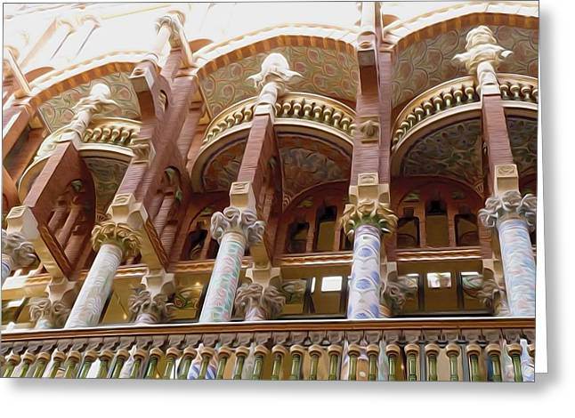 Catalunya Paintings Greeting Cards - Palau de la Musica Catalana window Greeting Card by Lanjee Chee