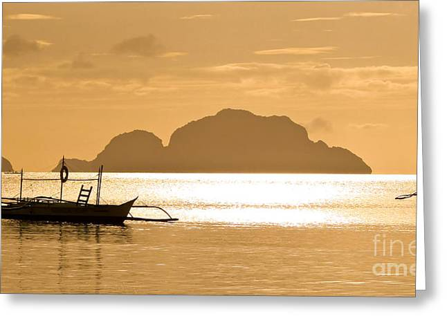 Palawan Greeting Cards - Palawan sunset Greeting Card by Delphimages Photo Creations