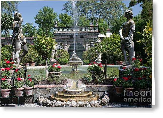 Garden Statuary Greeting Cards - Palazzo Pfanner Gardens Lucca Greeting Card by Ros Drinkwater
