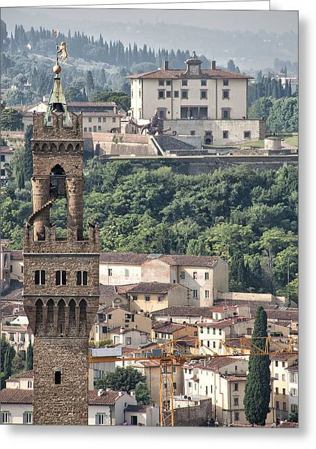 Strategy Greeting Cards - Palazzo Vecchio Tower and Forte Belvedere Greeting Card by Melany Sarafis